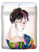Lady With Kimono Duvet Cover