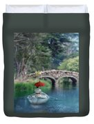 Lady With Parasol In Boat Duvet Cover