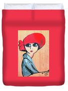 Lady With Red Hat Duvet Cover