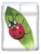 Ladybug On Leaf Duvet Cover