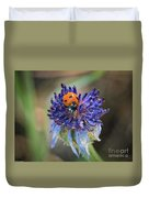 Ladybug On Purple Flower Duvet Cover