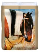 Ladys Jewels Horse Painting Portrait Duvet Cover