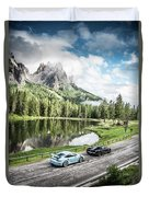 Laferrari And Gt3rs In The Dolomites Duvet Cover