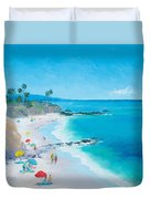 Laguna Beach Umbrellas Duvet Cover