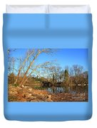Lake And Trees In Early Spring Duvet Cover