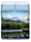 Lake And Volcano Duvet Cover