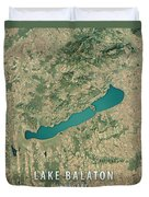 Lake Balaton 3d Render Satellite View Topographic Map Duvet Cover