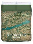 Lake Balaton 3d Render Satellite View Topographic Map Horizontal Duvet Cover