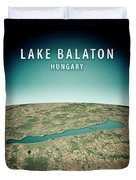 Lake Balaton 3d Render Satellite View Topographic Map Vertical Duvet Cover