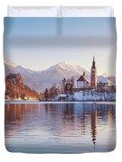 Lake Bled Winter Sunrise Duvet Cover