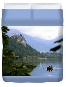 Lake Bled With Row Boat Duvet Cover