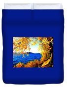 Lake Coeur D'alene Through Golden Leaves Duvet Cover