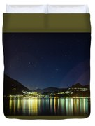 Lake Como Night Reflections Duvet Cover