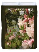 Lake Crescent Lodge Rhododendrons Duvet Cover