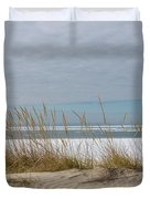 Lake Erie Ice Blanket With Sand Dunes And Dry Grass Duvet Cover