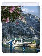 Lake Garda Harbour Of Limone Sul Garda Duvet Cover