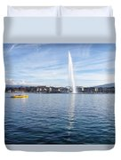 Lake Geneva Switzerland With Water Fountain And Water Taxi On A  Duvet Cover