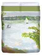 Lake Harriet With Sailboat And Angler Duvet Cover