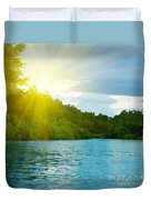 Lake In Deep Forest Duvet Cover