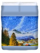 Lake In The Middle Of Swiss Beauty Duvet Cover