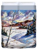 Lake In Winter Duvet Cover