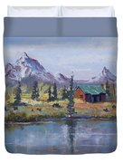 Lake Jenny Cabin Grand Tetons Duvet Cover