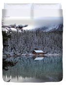 Lake Louise Boathouse Duvet Cover
