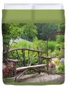 Lake Lure Flowering Bridge Bench Duvet Cover