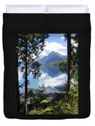 Lake Mcdlonald Through The Trees Glacier National Park Duvet Cover