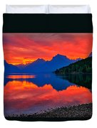 Lake Mcdonald Fiery Sunrise Duvet Cover