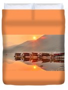 Lake Mcdonald Fiery Sunset Duvet Cover