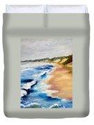 Lake Michigan Beach With Whitecaps Detail Duvet Cover