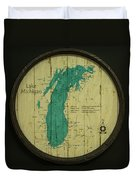 Lake Michigan Map Duvet Cover