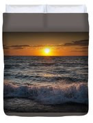 Lake Michigan Sunset With Crashing Shore Waves Duvet Cover