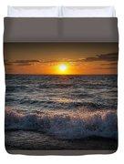 Lake Michigan Sunset With Crashing Shore Waves Duvet Cover