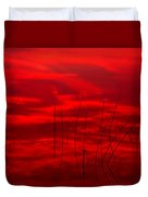 Lake Reeds And Red Sunset Duvet Cover