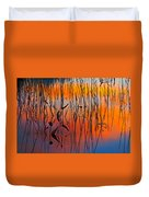Lake Reeds And Sunset Colors Duvet Cover