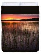 Lake Reeds At Sundown Duvet Cover