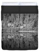 Lake Reflections In Black And White Duvet Cover