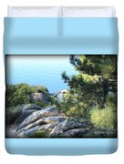 Lake Tahoe And Boulders Duvet Cover