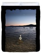Lake Tahoe Sunset With Rocks And Black Framing Duvet Cover