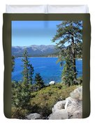 Lake Tahoe With Mountains Duvet Cover