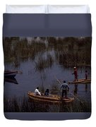 Lake Titicaca Reed Boats Duvet Cover