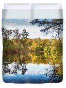 Lake Waterford Fall - Watercolor Fx Duvet Cover