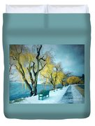 Lakeshore Walkway In Winter Duvet Cover