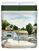 Lakeside Dock And Pavilion Duvet Cover
