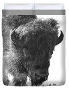 Lamar Valley Bison Black And White Duvet Cover