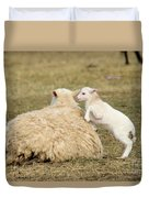 Lamb Jumping On Mom Duvet Cover