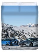 Lamborghini Aventador Sv And Ferrari F12 Tdf Duvet Cover