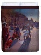 Lambrettas At Winchester Duvet Cover
